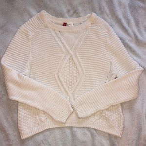 H&M Divided Cable Knit White Sweater